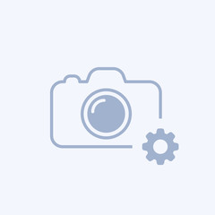 Camera icon with settings sign. Camera icon and customize, setup, manage, process concept