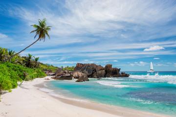 Anse Coco beach, La Didue island, Seychelles.