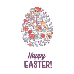 Happy Easter.  Vector illustration. Easter eggs with floral pattern