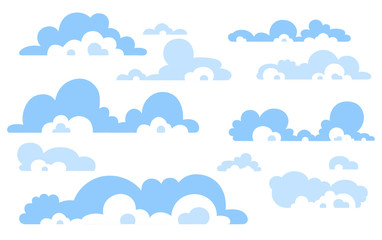 Cartoon Blue sky with clouds on the shiny day. Silhouette of white fluffy clouds isolated on white background. Vector set