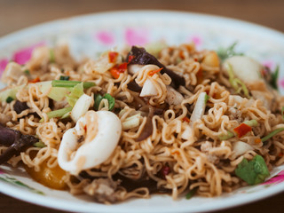 Thai Instant Noodle Spicy Seafood Salad.