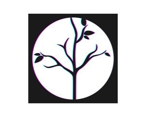 black rectangle dead tree leafless plant fall image vector icon