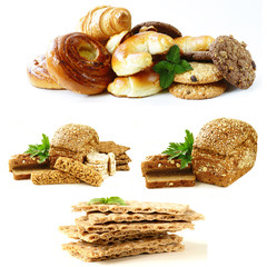 Various bakery products on a white background