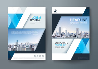 Blue annual report brochure flyer design template, Leaflet cover presentation, book cover, layout in A4 size