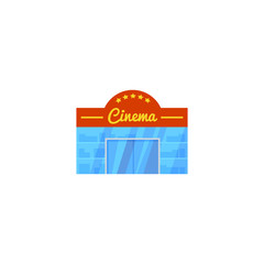 Vector illustration, simple icon of a cinema building isolated on a white background