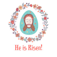He is risen!  Easter vector illustration. Easter egg with the image of Jesus framed by a floral wreath.