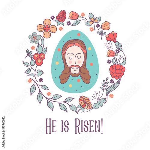 He is risen! Easter vector illustration. Easter egg with the image ...