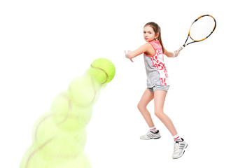 Active beautiful girl tennis player, isolated on a white background