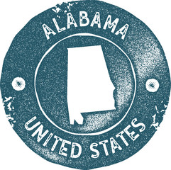 Alabama map vintage stamp. Retro style handmade label, badge or element for travel souvenirs. Blue rubber stamp with us state map silhouette. Vector illustration.