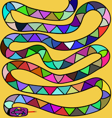 yellow background and colored snake