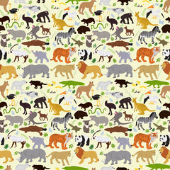 Vector seamless background of various animals with plants on a white background