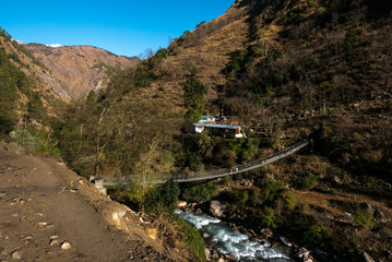 Hängebrücke in Nepal Langtang