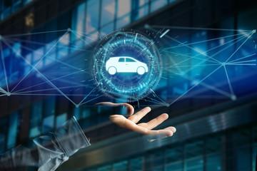 Car icon on a futuristic interface