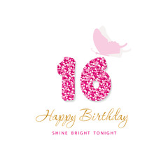 Happy Birthday card for girls. Sweet 16 glitter numbers. Pink and gold. Vector