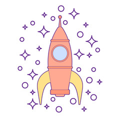 Illustration of a sparkling rocket ship space vehicle blasting off into the sky. Kids toy for boys isolated.