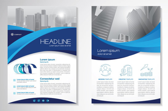 Template vector design for Brochure, Annual Report, Magazine, Poster, Corporate Presentation, Portfolio, Flyer, infographic, layout modern with blue color size A4, Front and back, Easy to use.