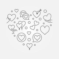Heart line illustration - vector Valentines Day concept