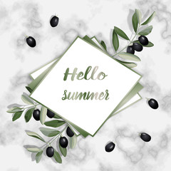 Hello Summer Greeting Card with Olive Brunches