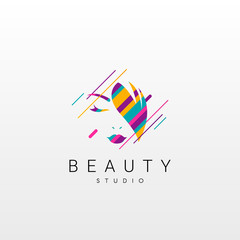 Beauty logo. Abstract Beauty logo design, made of various geometric shapes in color.