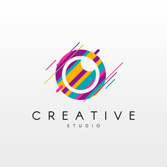Camera Logo.  Abstract Camera logo design, made of various geometric shapes in color.