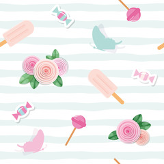 Festive seamless pattent with flowers and sweets in pastel pink and blue. For wedding, birthday, baby shower design.