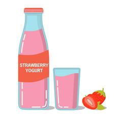 Glass bottle fresh strawberry juice, yogurt.Glass milk drink. Healthy food.Delicacy children.Flat line art vector.Fermented milk product  farm husbandry.Ripe strawberry.Fruity dessert beverage.