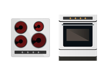 Kitchen electric stove. The household equipment. Vector illustration. Front and top view.