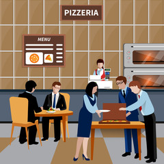 Flat Business Lunch People Composition