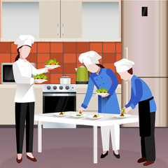 Flat Colored Cooking People Composition