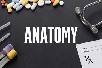 ANATOMY written on black background with medication
