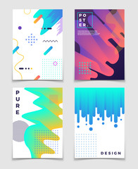 Futuristic abstract 3d fluid oil with memphis pattern elements. Modern party vector posters