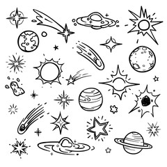 Space doodle vector elements. Hand drawn stars, comets, planets and moon in sky