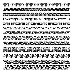 Vector set of 13 decorative geometric seamless borders in ethnic style. Collection of pattern brushes for frames. Aztec tribal ornaments. Freehand drawing. Black and white.