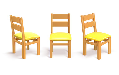 Wooden chair in different position isolated vector illustration