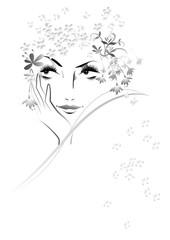 女性の顔, フラワー