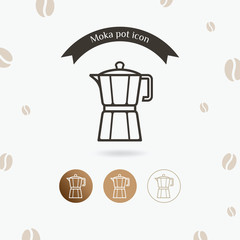 Moka pot icon. Coffee maker vector illustration, Italian coffee maker
