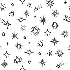 Hand drawn sky with doodle stars vector seamless background. Grunge outer space repeating pattern