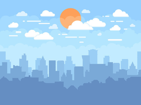 Flat cityscape with blue sky, white clouds and sun. Modern city skyline flat panoramic vector background