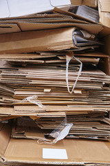 Cardboard trash. Recycle and reuse carton waste. Clean environmental