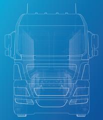 Semi-trailer dump truck sketch. Eurotrucks vehicle. Tracing illustration of 3d. EPS 10 vector format.