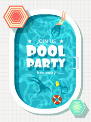 Relaxing man and woman in summer vacation. Swimming pool party vector background