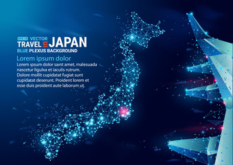 Polygonal map of Japan. Floating blue plexus geometric background. Creative abstract vector illustration. High tech, communications and travel. Effect of motion luminous particles and points.