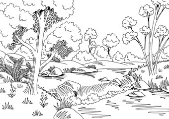 Forest river graphic black white waterfall landscape sketch illustration vector