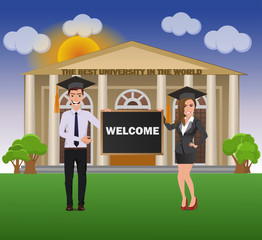 Students (Funny Guy  in casual business clothes with beautiful woman in business clothes) near The best university with chalkboard with text Welcome