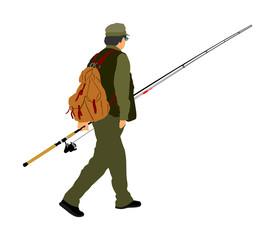 Fisherman vector  illustration isolated on white background.