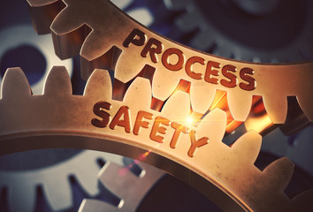 Process Safety on Golden Cogwheels. 3D Illustration.