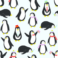 Vector seamless pattern with penguins in flat style