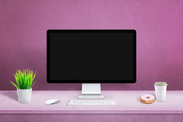 Wall Mural - Blank display on office desk for mockup, web site design presentation. Pink desk and wall.