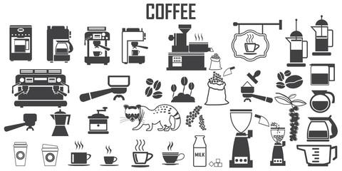 coffee, machine,  espresso, cup, kitchen  illustration flat icons. mono vector symbol