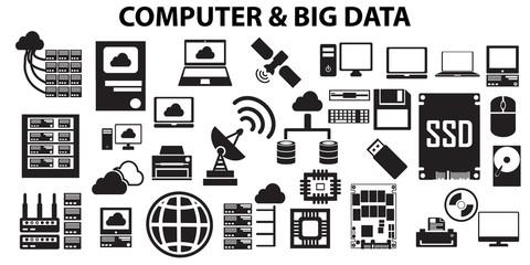 data, big, icons, technology, analytics, information, computer, business, analysis, database, network, cloud   illustration flat icons. mono vector symbol